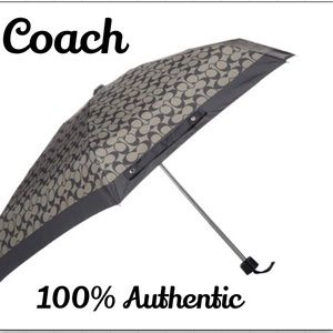 Coach Women's Signature Mini Umbrella - Grey/Black